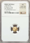Ancients:Greek, Ancients: IONIA. Erythrae. Ca. 550-500 BC. EL sixth stater or hecte(2.59 gm). NGC AU 4/5 - 5/5....