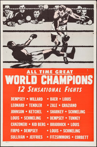 "All Time Great World Champions (Late 1940s). Boxing One Sheet (27"" X 41""). Sports"