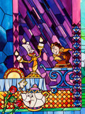 Animation Art:Concept Art, Beauty and the Beast Stained Glass Window Design Art (WaltDisney, c. 1990s-2000s)....