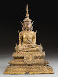 Asian:Other, A Thai Gilt Bronze Seated Buddha Figure. 22-1/2 h x 14-1/2 w x7-1/2 d inches (57.2 x 36.8 x 19.1 cm). ...