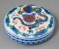 Asian:Japanese, A Makuzu Kozan Japanese Porcelain Covered Paste Box, Meiji Period, late 19th century. Marks: (seal-form signature). 1 inch h... (Total: 2 Items)