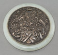 Asian:Chinese, A Chinese Carved White Jade and Silver Hand Mirror, late QingDynasty. 3-1/4 inches diameter (8.3 cm). ...