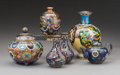 Asian:Japanese, Six Various Japanese Cloisonne Vessels and Porcelain Vase, Meiji-Taisho Periods. 7-1/4 inches high (18.4 cm) (tallest). ... (Total: 6 Items)
