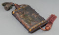 Asian:Japanese, A Japanese Paint-Decorated Leather Flask. 7-1/4 inches high x 3-3/4inches wide (18.4 x 9.5 cm). ...