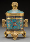 Asian:Chinese, A Fine Chinese Gilt Bronze and Cloisonné Covered Censer, Late Qing-Republic Period. Marks: Four-character Qianlong mark. 6 i...