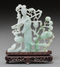 Asian, A Chinese Jadeite Meiren with Lingzhi Carving with Stand. 4-7/8inches high x 4-3/4 inches wide (12.4 x 12.1 cm) (without st...