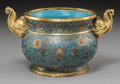 Asian:Chinese, A Chinese Gilt Bronze and Cloisonné Censer with Elephant MaskHandles, Republic Period, early 20th century. Marks: Four-char...