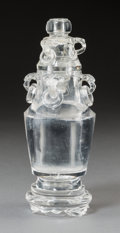 Asian:Chinese, A Chinese Carved Rock Crystal Covered Urn on Base . 7-3/4 incheshigh (19.7 cm). ... (Total: 3 Items)