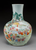Asian:Chinese, A Chinese Porcelain Hundred Boys Bottle Vase, Republic Period .Marks: Six-character Qianlong mark and of a later period. 16...