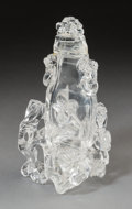 Asian:Chinese, A Chinese Carved Rock Crystal Covered Urn on Openwork Base. 9-1/4 hx 5-1/4 w x 3-7/8 d inches (23.5 x 13.3 x 9.8 cm). ... (Total: 3Items)