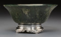 Asian:Japanese, A Chinese Carved Spinach Jade Bowl on Silver Yamanaka Base, MeijiPeriod, early 20th century. Marks: YAMANAKA, STERLING, 0...