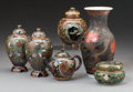 Asian:Japanese, Six Various Japanese Cloisonné Vessels, Meiji-Taisho Periods. 5-1/2inches high (13.9 cm) (tallest). ... (Total: 6 Items)