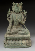 Asian:Chinese, A Chinese Bronze Seated Bodhisattva Figure, 17th century. 13 h x8-1/2 w x 6 d inches (33.0 x 21.6 x 15.2 cm). ...