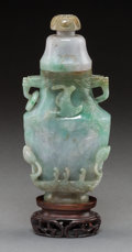 Asian:Chinese, A Chinese Jadeite Dragon and Phoenix Covered Vase withStand. 7-1/2 inches high (19.1 cm) (without stand). ... (Total: 2Items)