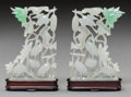 Asian:Chinese, A Mirrored Pair of Chinese Jadeite Crane and Lotus Carvings withStands. 3-7/8 inches high (9.9 cm) (without stands). ... (Total: 2Items)