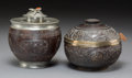 Asian:Chinese, Two Chinese Carved Coconut Food Vessels, late Qing Dynasty. 5inches high (12.7 cm) (taller). ... (Total: 2 Items)