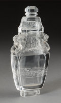 Asian:Chinese, A Chinese Carved Rock Crystal Covered Urn. 8-1/4 h x 4 w x 2 dinches (21.0 x 10.2 x 5.1 cm). ...