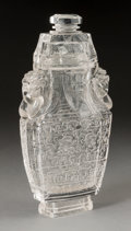 Asian:Chinese, A Large Chinese Carved Rock Crystal Covered Urn. 12-1/8 h x 6-1/4 wx 2-3/4 d inches (30.8 x 15.9 x 7.0 cm). ...