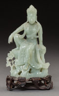 Asian:Chinese, A Chinese Carved Pale Jade Guanyin Figure, Qing Dynasty. 7 incheshigh (17.8 cm) (overall). ...