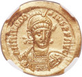 Ancients:Roman Imperial, Ancients: Theodosius II (AD 408-450). AV solidus (20mm, 4.31 gm, 6h). NGC MS 5/5 - 4/5, clipped....