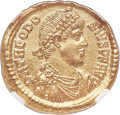 Ancients:Roman Imperial, Ancients: Theodosius I the Great (AD 379-395). AV solidus (20mm,4.45 gm, 12h). NGC MS 5/5 - 4/5....