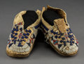 American Indian Art:Beadwork and Quillwork, A Pair of Cheyenne Child's Beaded Hide Moccasins