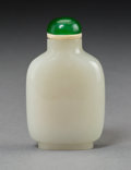 Asian:Chinese, A Chinese Carved White Jade Snuff Bottle . 2-7/8 inches high (7.3cm). ...