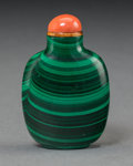 Asian:Chinese, A Chinese Carved Malachite and Coral Snuff Bottle. 2-1/2 incheshigh (6.4 cm). ...