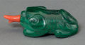 Asian:Chinese, A Chinese Carved Malachite Foo Lion Snuff Bottle. 2-1/4 inches long(5.7 cm). ...