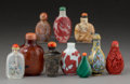 Asian:Chinese, A Group of Ten Chinese Snuff Bottles. 3-3/8 inches high (8.6 cm)(tallest). ... (Total: 10 Items)