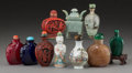 Asian:Chinese, A Group of Ten Chinese Snuff Bottles. 3-1/8 inches high (7.9 cm)(tallest). ... (Total: 10 Items)