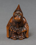 Asian:Japanese, A Japanese Carved Boxwood Elder Monkey Netsuke, MeijiPeriod, circa 1868-1912. 1-1/2 inches high (3.8 cm). ...