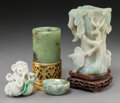 Carvings, Four Chinese Jade and Jadeite Carvings. 4-3/4 inches high (12.1 cm) (tallest, excluding stand). ... (Total: 4 Items)