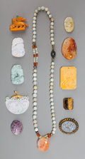 Jewelry:Necklaces, A Chinese Carved Agate and Jadeite Beaded Necklace with Various Pendants. Marks to clasp: SILVER. 23 inches long (58.4 c... (Total: 11 Items)