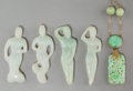 Asian:Chinese, Four Chinese Carved Jadeite Mermaid and Siren Figureswith Pendant Necklace. 2-3/8 inches long (6.0 ... (Total: 5 Items)