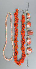 Asian:Chinese, Three Chinese Coral, Jade, and Carnelian Agate Necklaces. 27 incheslong (68.6 cm) (longest, overall). ... (Total: 3 Items)