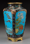 Asian:Japanese, A Japanese Cloisonné Squared Vase, Taisho Period, circa 1912-1926.12-3/4 inches high (32.4 cm). ...