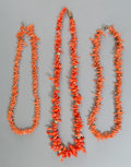Asian:Chinese, Three Chinese Natural Coral Necklaces. Marks to one clasp: SILVER. 23 inches long (58.4 cm) (longest length, overall). ... (Total: 3 Items)