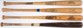 Baseball Collectibles:Bats, Game Used Bat Lot of 4 with Lovitto, Savage, Southard, & Wohlford....