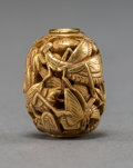 Asian:Japanese, A Japanese 22K Gold Ojime Bead, Meiji Period. Marks: Le Sai. 11/16inches. 10 grams. ...