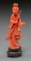 Asian:Chinese, A Chinese Carved Coral Figure of Guanyin. 5-1/4 inches high (13.3cm). ...