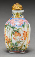Asian:Chinese, A Chinese Famille Rose Enamel on White Glass Snuff Bottle, RepublicPeriod, circa 1912-1949. Marks: Four character Qianlong ...