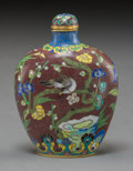 Asian:Chinese, A Chinese Cloisonné Snuff Bottle, Qing Dynasty. Marks:Four-character Qianlong mark and of a later period. 2-1/2 incheshigh...