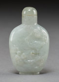 Asian:Chinese, A Chinese Carved Jadeite Snuff Bottle with Crane and EvergreenMotif. 2-1/2 inches high (6.4 cm). ...