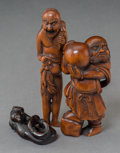 Asian:Japanese, Three Japanese Carved Boxwood Netsuke. 4-1/2 inches high (11.4 cm)(tallest). ... (Total: 3 Items)