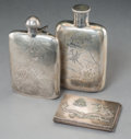 Asian:Chinese, Two Chinese Export Silver Flasks and Cigarette Case, early 20thcentury. Marks to larger flask: LEE YEE HING, 90% SILVER...(Total: 3 Items)