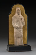 Asian:Chinese, A Chinese Sui Pottery Figure on Stand, Sui Dynasty, circa 581-618.11 h x 5-1/4 w x 3 d inches (27.9 x 13.3 x 7.6 cm). ...