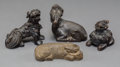 Asian:Chinese, Four Chinese Bronze Figural Scroll Weights, Qing Dynasty. 2-1/4inches high (5.7 cm) (tallest). ... (Total: 4 Items)