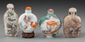 Asian:Chinese, Four Chinese Porcelain and Reverse Painted Glass Snuff Bottles.3-3/8 inches high (8.6 cm) (tallest). ... (Total: 4 Items)