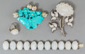 Asian:Chinese, A Four-Piece Chinese Carved White Jade, Turquoise, and DiamondJewelry Group. 6-1/2 inches long (16.5 cm) (bracelet). The ...(Total: 4 Items)